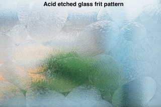 Acid etched glass frit pattern